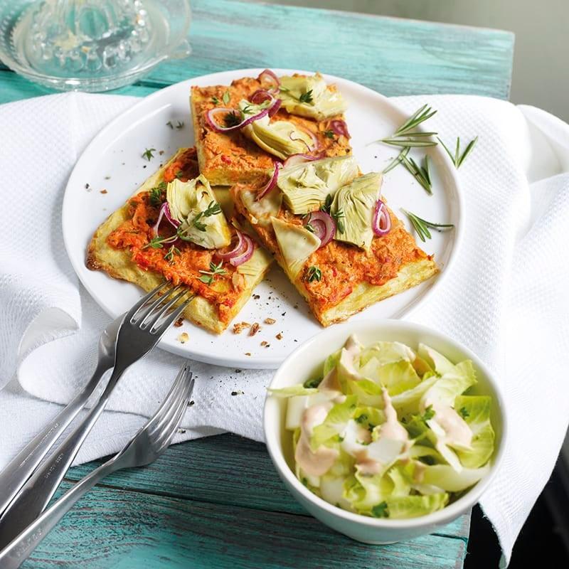 Foto van Aardappelpizza, met tonijn en artisjok door WW