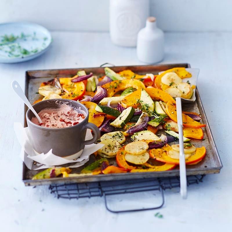 Foto van Pompoen & aardappelen uit de oven met tomatendip door WW