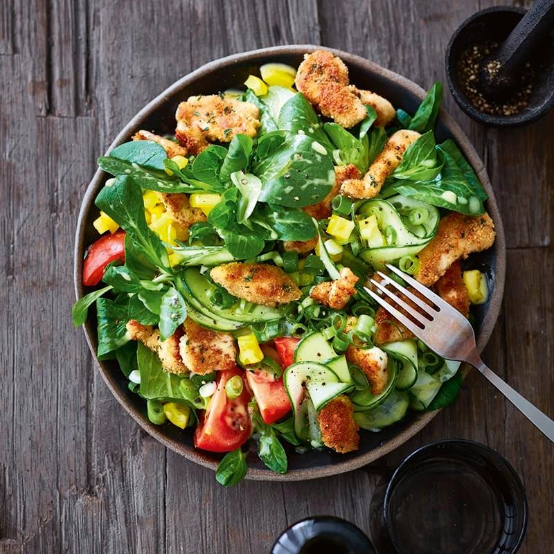 Foto van Salade met schnitzelreepjes door WW