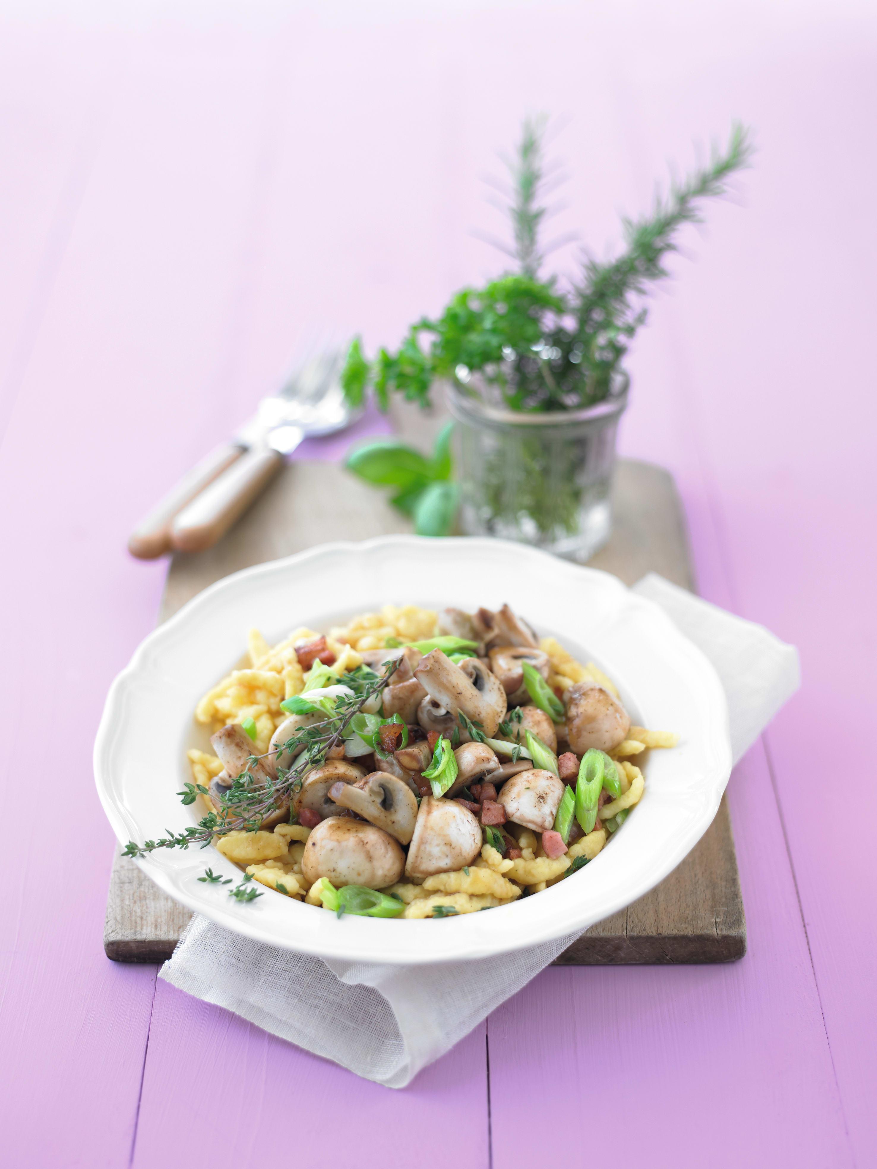 Foto van Pasta met champignons en ham door WW