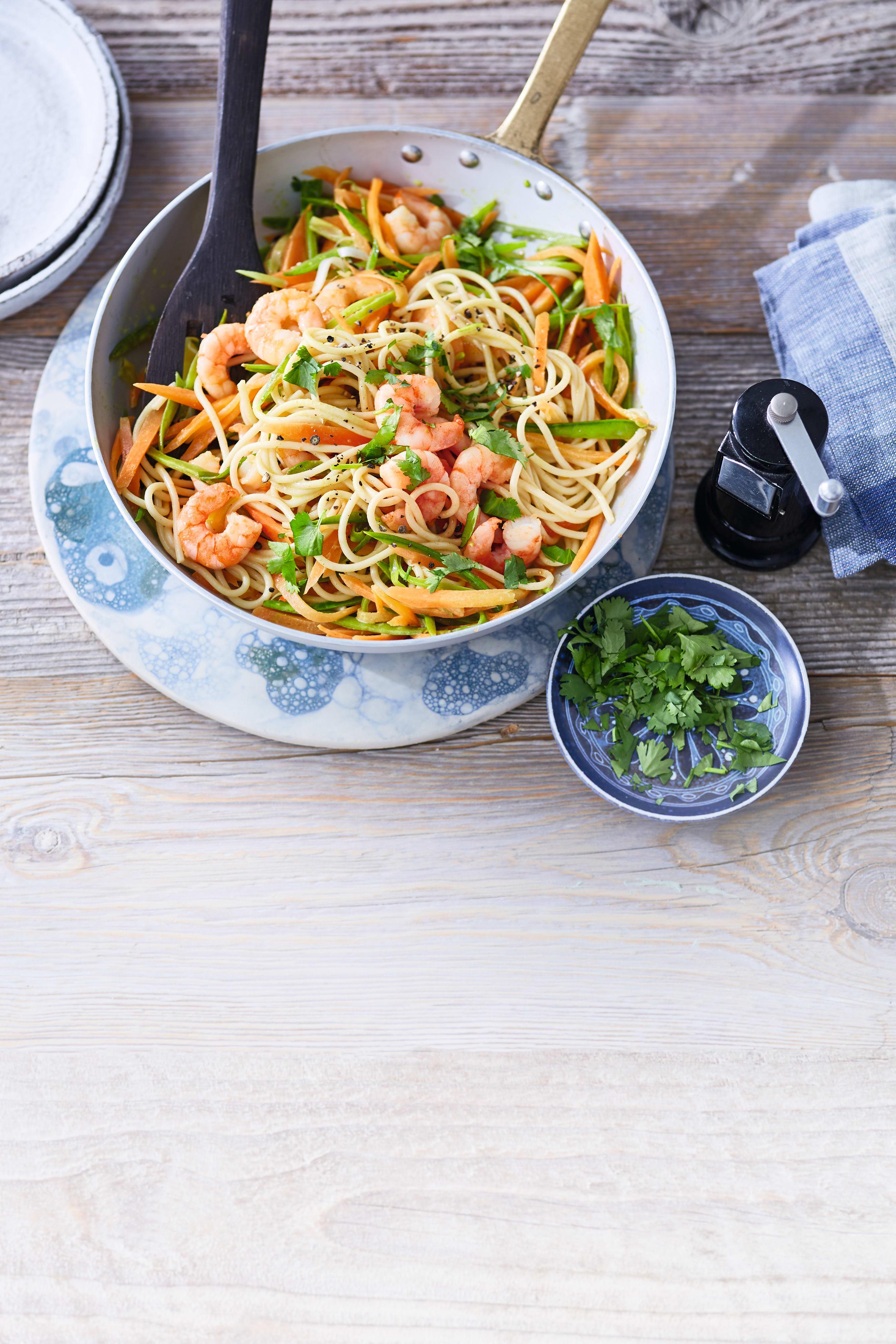 Foto van Spaghetti met garnalen en peultjes door WW