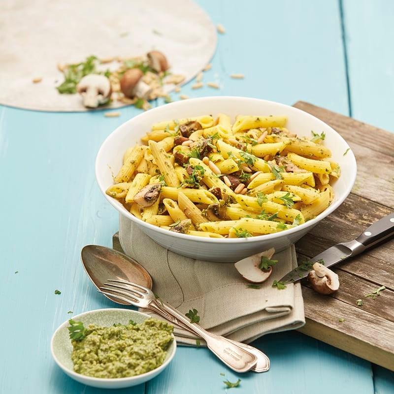 Foto van Pasta met champignons en erwtenpesto door WW