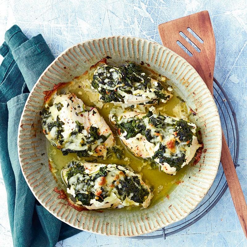 Foto van Kip met spinazie en mozzarella door WW