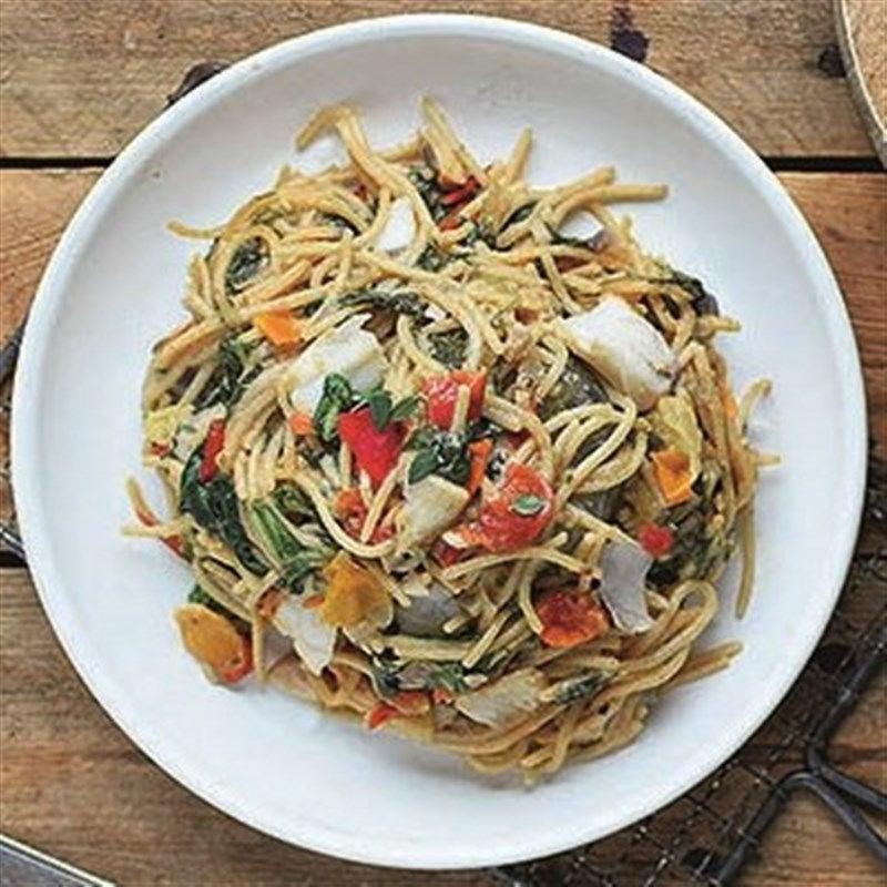 Foto van Spaghetti met spinazie en koolvis door WW