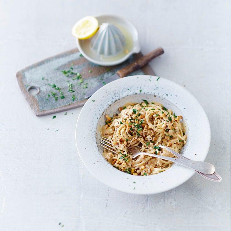 Foto van Vegetarische spaghetti carbonara door WW