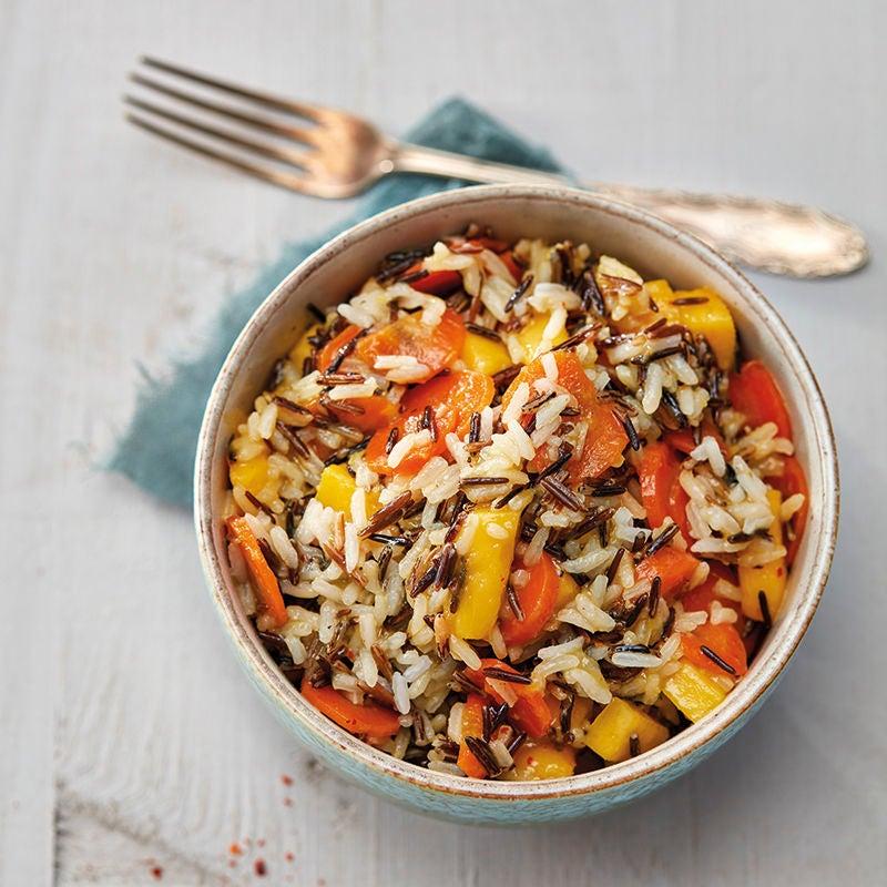 Foto van Lauwwarme salade van wilde rijst met mangodressing en gekaramelliseerde wortels door WW