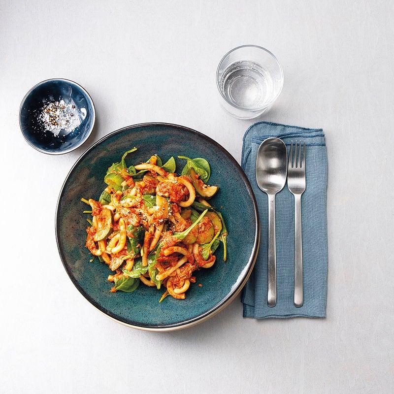 Foto van Éénpanspasta met tonijn, spinazie en tomaat door WW