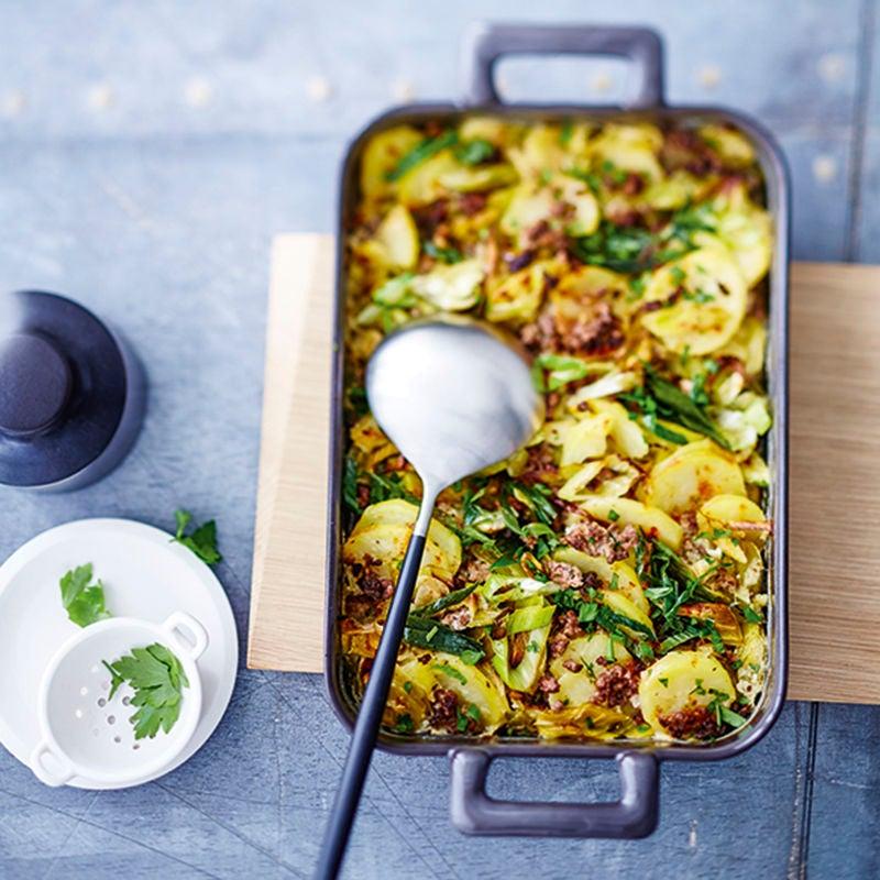 Foto van Prei-ovenschotel met tartaar en aardappelen door WW